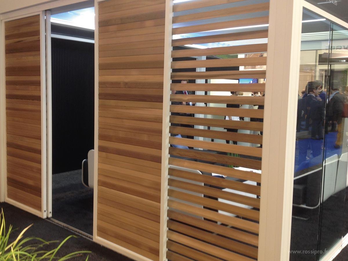 Lames De Bois Exterieur panneaux coulissants aluminium avec des lames en bois